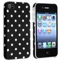 INSTEN Black/ White Dots Rubber Coated Phone Case Cover for Apple iPhone 4/ 4S