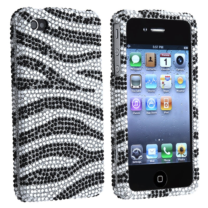 INSTEN Silver/ Black Diamond Snap-on Phone Case Cover for Apple iPhone 4/ 4S - Thumbnail 0