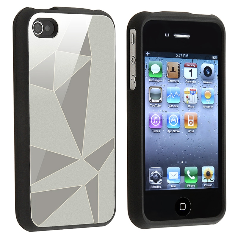 INSTEN Silver Triangle Aluminum Snap-on Phone Case Cover for Apple iPhone 4/ 4S