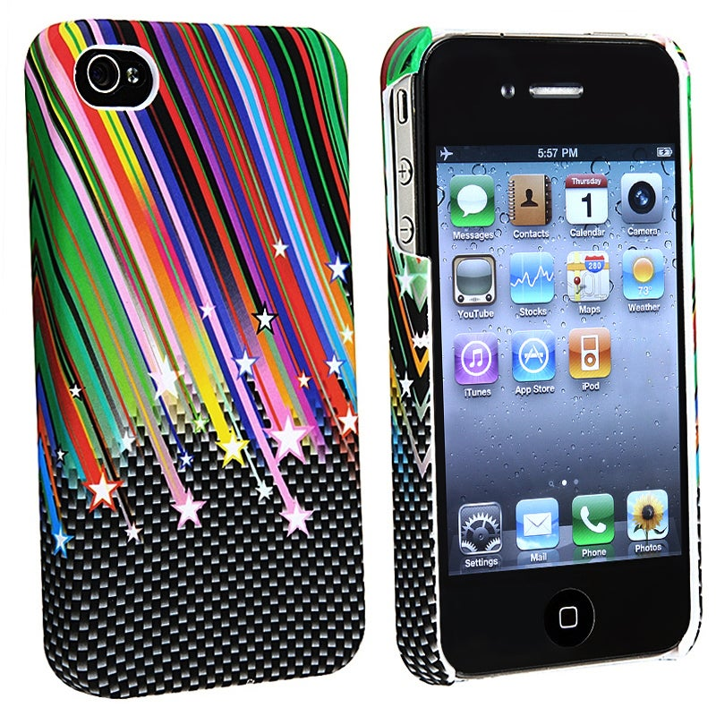 INSTEN Rainbow Star Snap-on Rubber Coated Phone Case Cover for Apple iPhone 4/ 4S