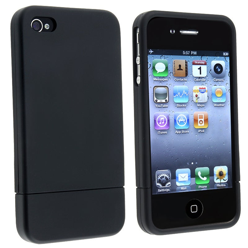 BasAcc Black/ Black Snap-on Rubber Coated Case for Apple iPhone 4/ 4S