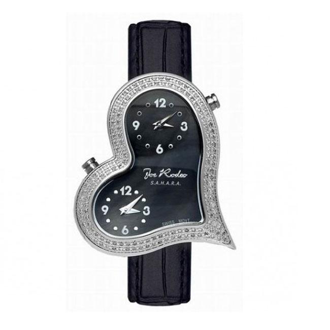 Joe Rodeo Women's Heart Dual-Time Stainless-Steel Diamond Watch