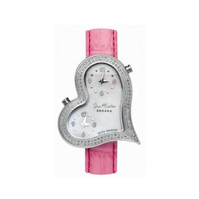 Joe Rodeo Women's Heart Dual-Time Swiss Quartz Diamond Watch
