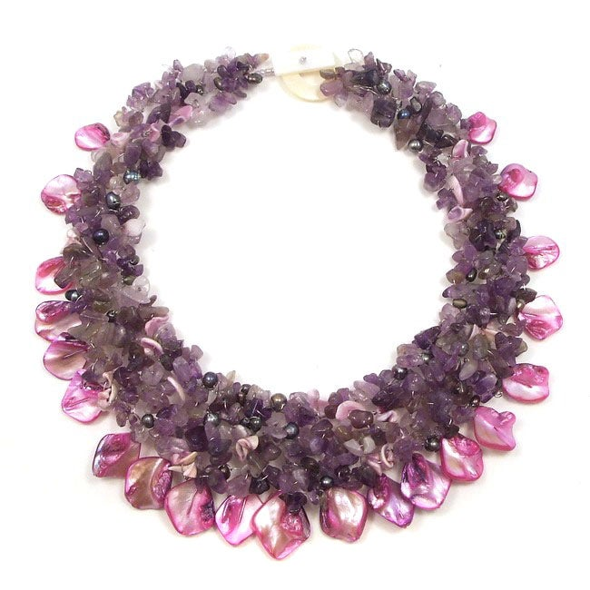Purple Amethyst and Seashells Cluster Stone Toggle Necklace (Philippines)