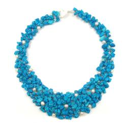 Blue Cascades Turquoise-Pearl Medley Bib Necklace (Philippines)