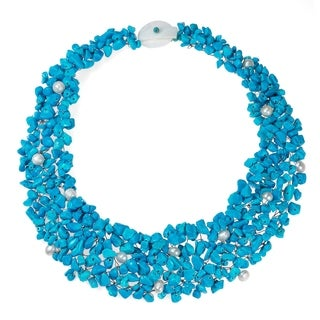 Handmade Blue Cascades Turquoise-Pearl Medley Bib Necklace (Philippines)