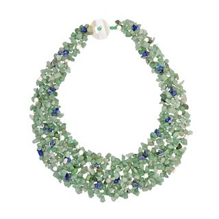 Handmade Green-Blue Cascades Aventurine-Pearl-Lapis Medley Trio Bib Necklace (Philippines)
