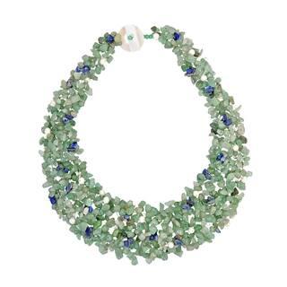 Handmade Green-Blue Cascades Aventurine-Pearl-Lapis Medley Trio Bib Necklace (Philippines)|https://ak1.ostkcdn.com/images/products/6660301/P14220192.jpg?impolicy=medium