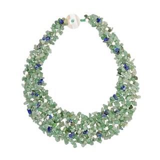 Handmade Green Cascades Aventurine-Pearl-Lapis Medley Trio Bib Necklace (Thailand)