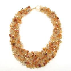 Orange Cascades Quartz-Pearl-Carnelian Medley Trio Bib Necklace (Philippines)