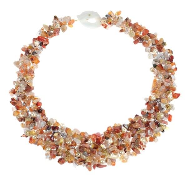 Handmade Orange Cascades Quartz-Pearl-Carnelian Medley Trio Bib Necklace (Philippines)