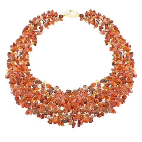 Handmade Orange Cascades Quartz-Pearl-Carnelian Medley Trio Bib Necklace (Thailand)