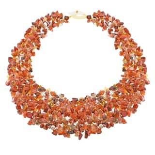 Handmade Orange Cascades Quartz-Pearl-Carnelian Medley Trio Bib Necklace (Philippines)|https://ak1.ostkcdn.com/images/products/6660302/P14220193.jpg?impolicy=medium