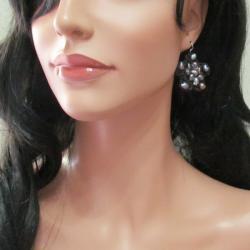 Lovely Handmade Flower Black Pearl Silver Earrings (Thailand)