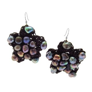 Lovely Handmade Flower Black Pearl Silver Earrings (Thailand)