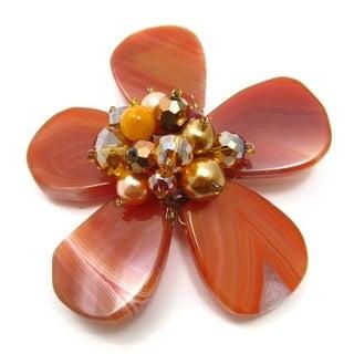 Handmade Orange Agate Floral Fashion Crystal Pin/Brooch (Thailand)