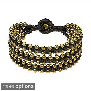 Organic Beauty Brass Beads Triple Strand Bracelet (Thailand)