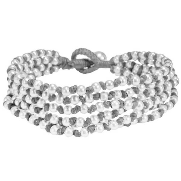 Handmade 'Silver Melody' Cotton Rope Toggle Bracelet (Thailand)