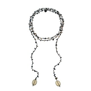 Sparkling Aura Black Onyx-Smokey Quartz Lariat Necklace (Thailand)