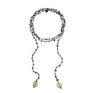 Handmade Sparkling Aura Black Onyx-Smokey Quartz Lariat Necklace (Thailand)