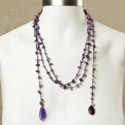 Sparkling Aura Purple Amethyst-Agate Lariat Necklace (Thailand)