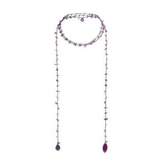 Handmade Sparkling Aura Purple Amethyst-Agate Lariat Necklace (Thailand)