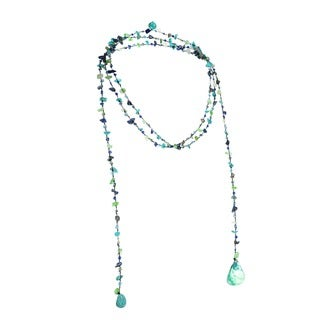 Handmade Sparkling Aura Blue Lapis-Green Turquoise Lariat Necklace (Thailand)