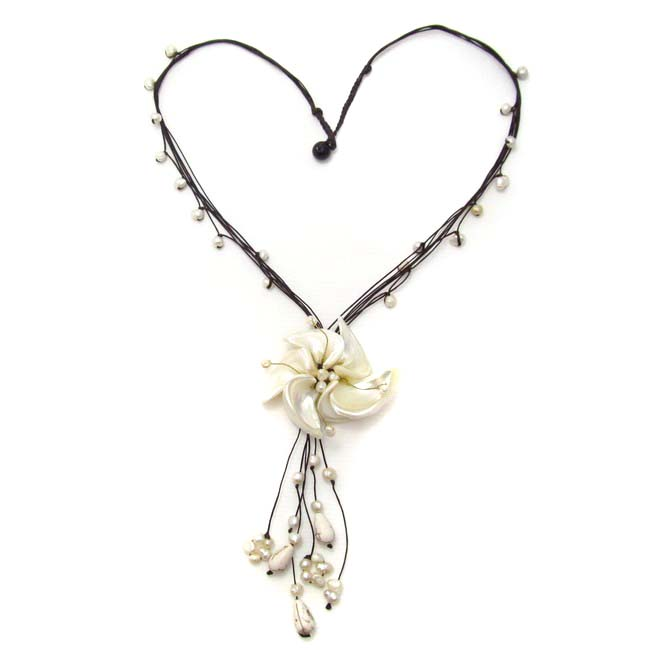 Floral Tassel Swirl Mother of Pearl Cotton Rope Necklace (Thailand)