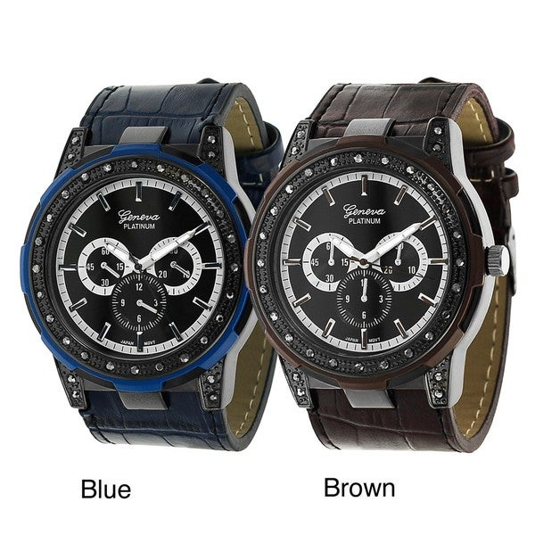 Geneva Platinum Women's Water-Resistant Rhinestone Chronograph Simulated-Leather Watch