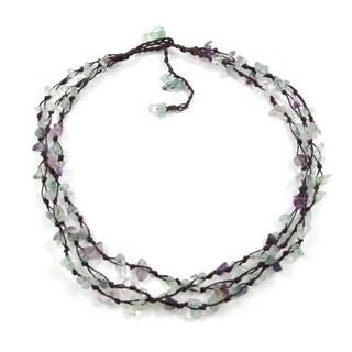 Handmade Trendy Layer Quartz Stone Flow Cotton Rope Necklace (Thailand)