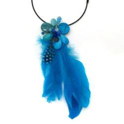 Handmade Floral Tassel Mix Stone Blue Feather Statement Choker (Thailand) - Thumbnail 1