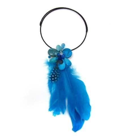 Handmade Floral Tassel Mix Stone Blue Feather Statement Choker (Thailand)