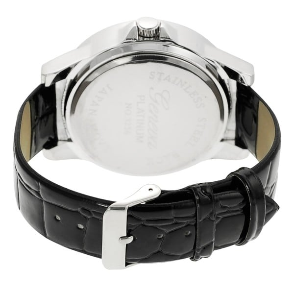 Geneva Platinum Women's Rhinestone-accented Simulated Leather Watch