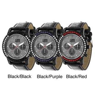 Geneva Platinum Women's Rhinestone Leather Strap Decorative Chronograph Watch