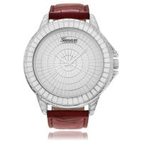Geneva Platinum Men's Silvertone Mirrored Dial Faux Leather Strap Watch