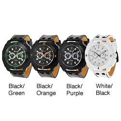Geneva Platinum Men's Decorative Chronograph Strap Watch