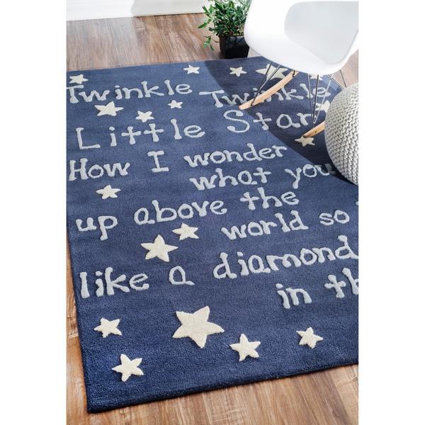 nuLOOM Handmade Kids Lullaby and Stars Wool Rug (5' x 7') - 5' x 7'