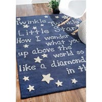 "Handmade Luna Kids Lullaby and Stars Wool Area Rug (3'6"" x 5'6"") - 3'6"" x 5'6"""