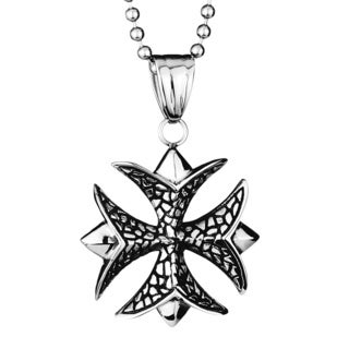 Stainless Steel Textured Patonce Cross Pendant