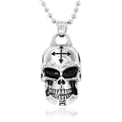 Stainless Steel Barbed Cross Rider Skull Necklace