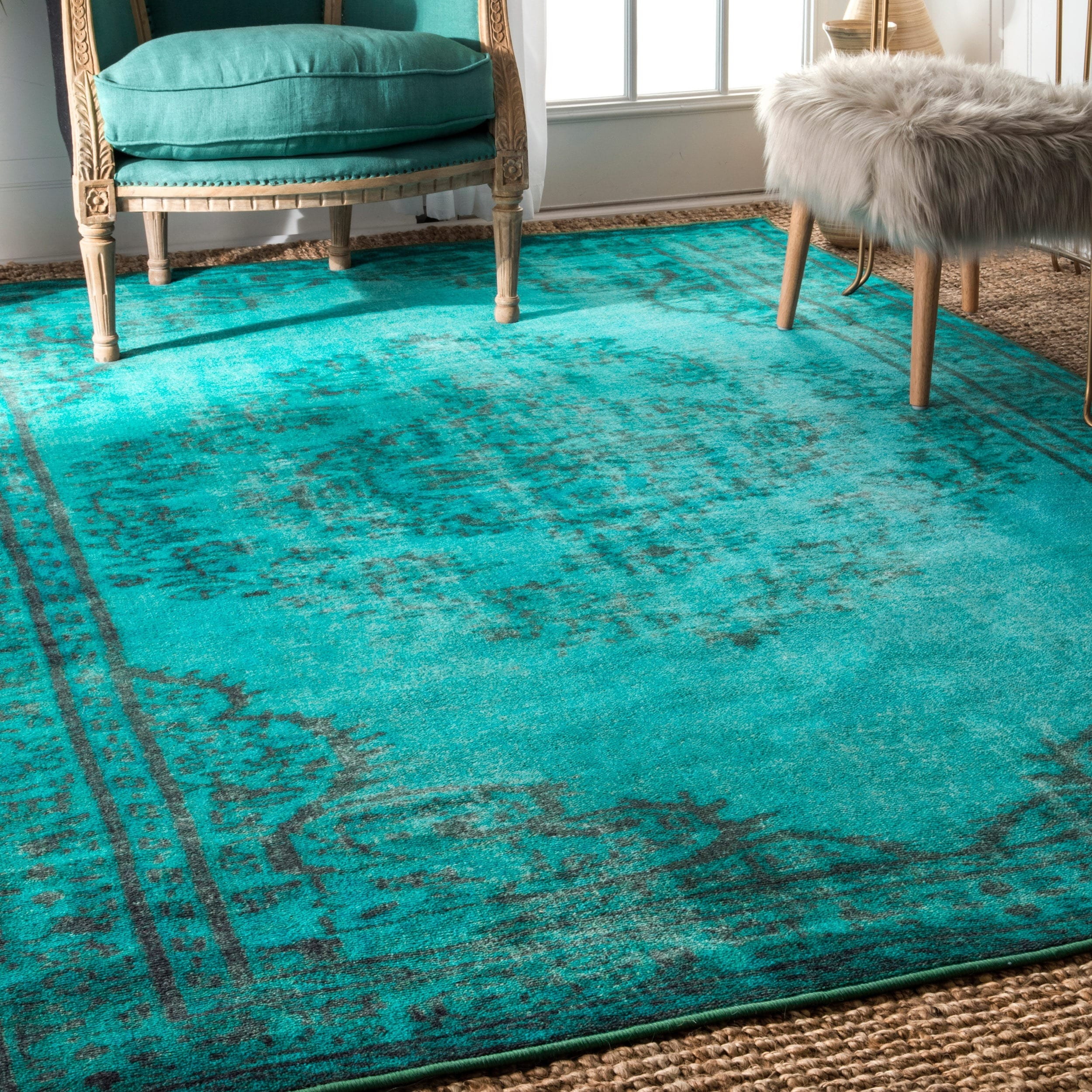Shop Nuloom Traditional Persian Fancy Aqua Rug: Shop NuLOOM Vintage Inspired Overdyed Rug (5' X 8')