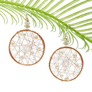 Handmade Meteor Web Freshwater White Pearl-Milky Quartz Earrings (Thailand)