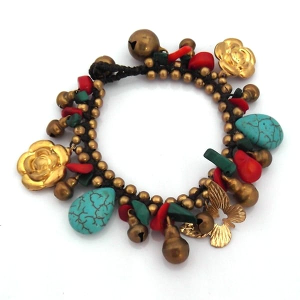 Handmade Jingle Bell Garden Multistone-Brass Dangle Bracelet (Thailand)