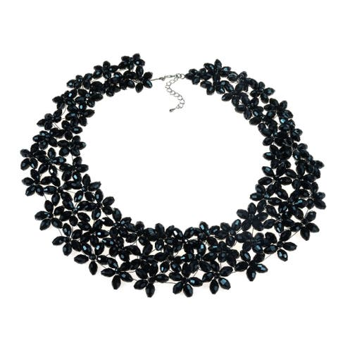 Handmade Lavish Mini Florals Black Crystal Statement Necklace (Thailand)