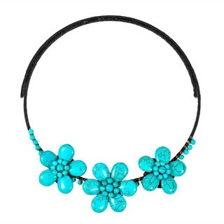 Floral Muse Blue Turquoise Stone Cotton Rope Choker