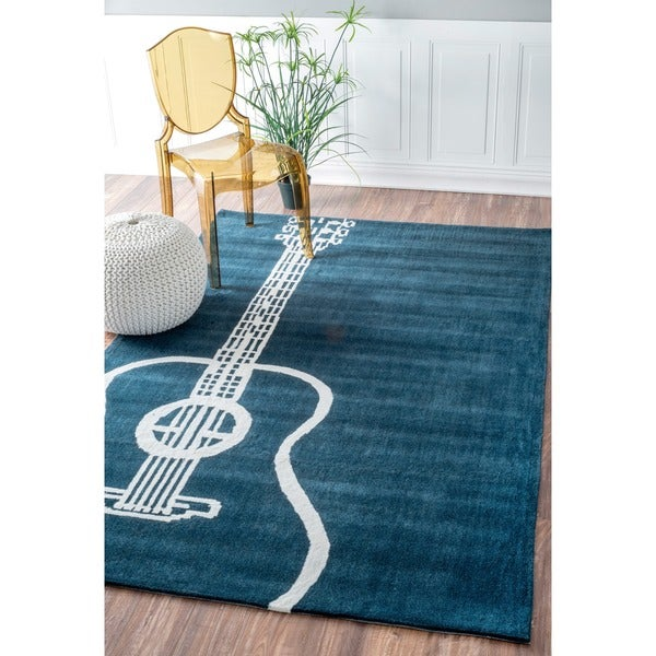 nuLOOM Handmade Guitar Blue Rug (5' x 8')