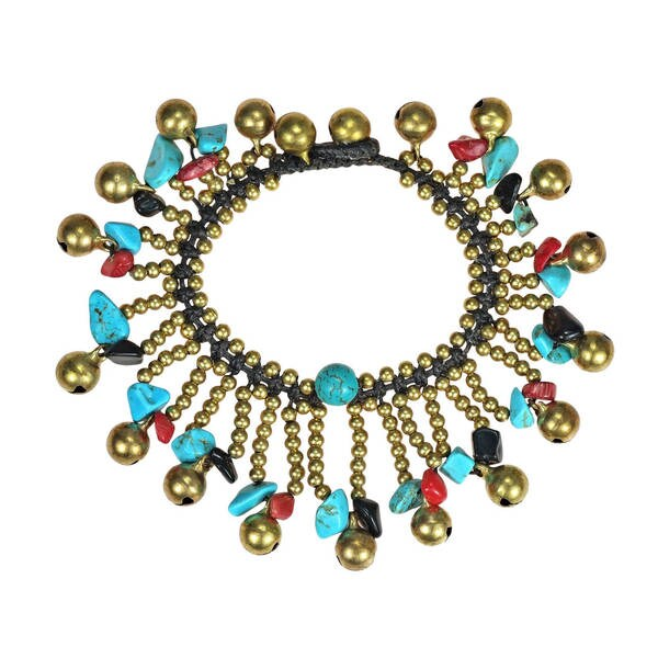Handmade Tribal Dancer Material Jingle Bell Bracelet (Thailand)