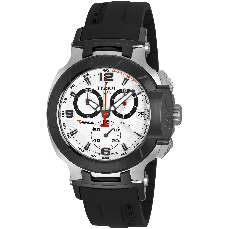 Shop Tissot Men S T Race Chrono Black Rubber Strap Watch