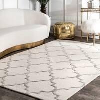 nuLOOM Handmade Moroccan Trellis Faux Silk Wool Rug (7'6 x 9'6) - 7'6 x 9'6