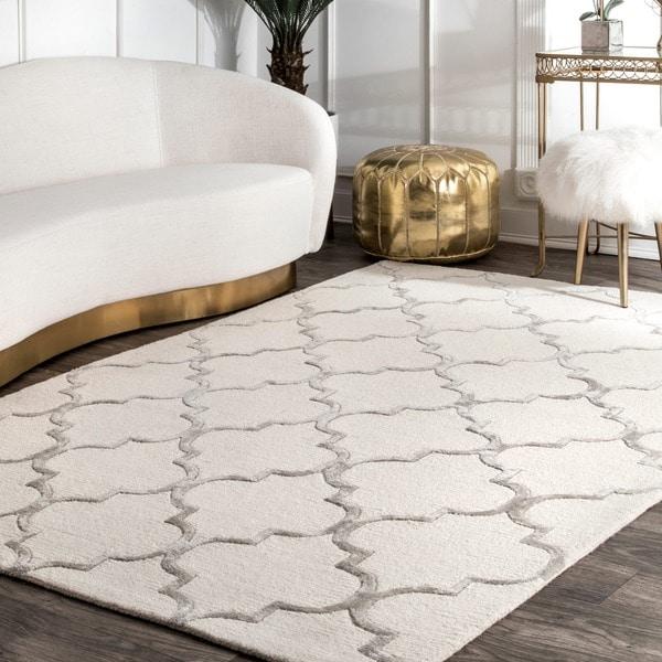 nuLOOM Handmade Moroccan Trellis Faux Silk Wool Rug (5' x 8')